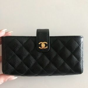 Chanel NWOB Caviar Black Wallet quilted clutch